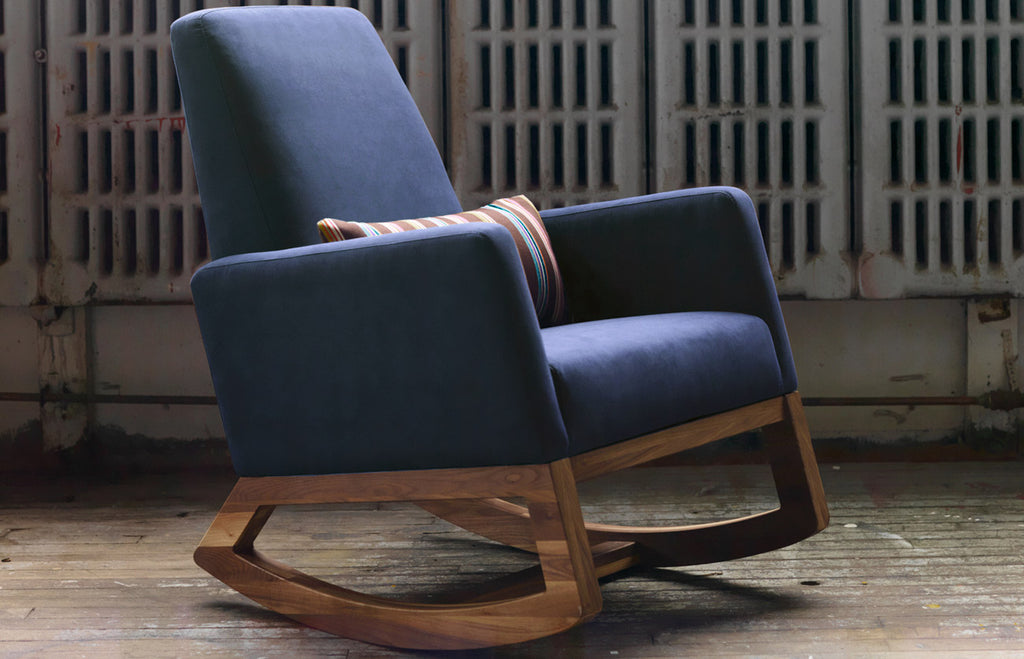Modern Joya Rocker - navy blue body with walnut base shown.