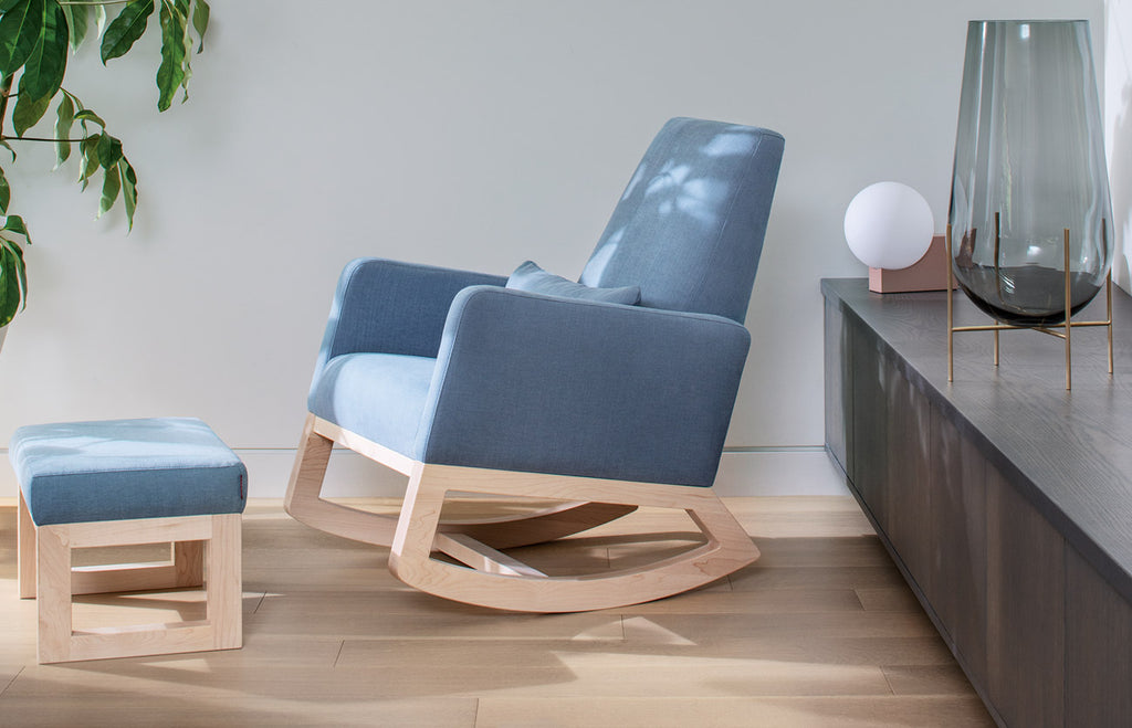 Modern Joya Rocker and Ottoman - sky body and clear maple base shown.