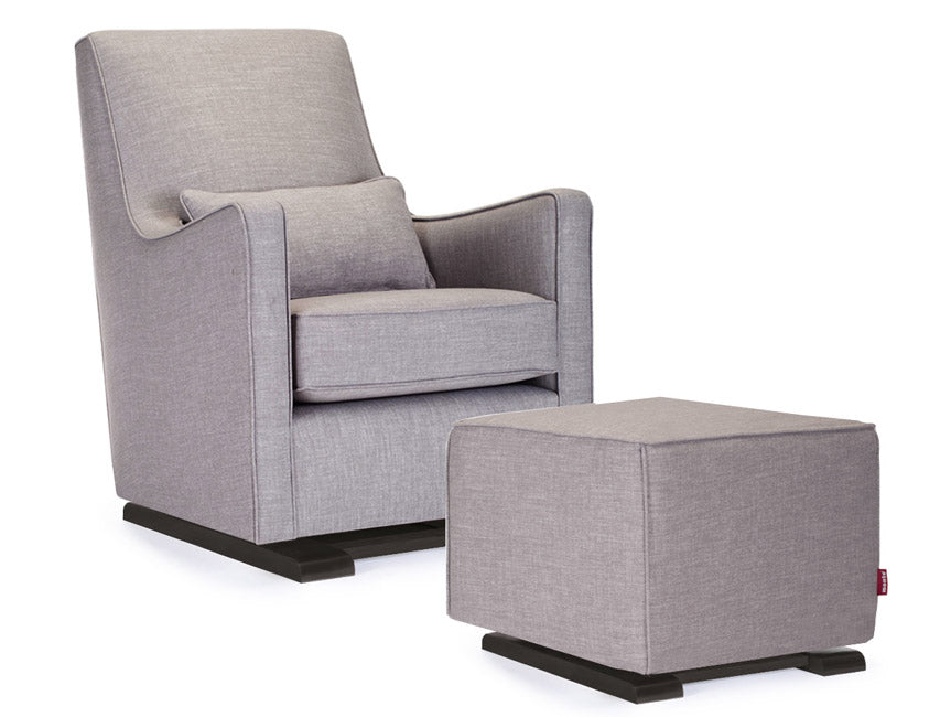 Modern Upholstered Luca Glider and Ottoman - pebble grey fabric shown.