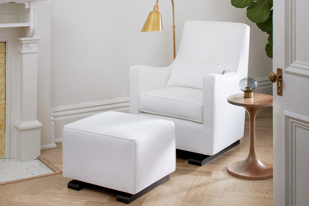 Modern Upholstered Luca Glider and Ottoman - white with white piping shown.