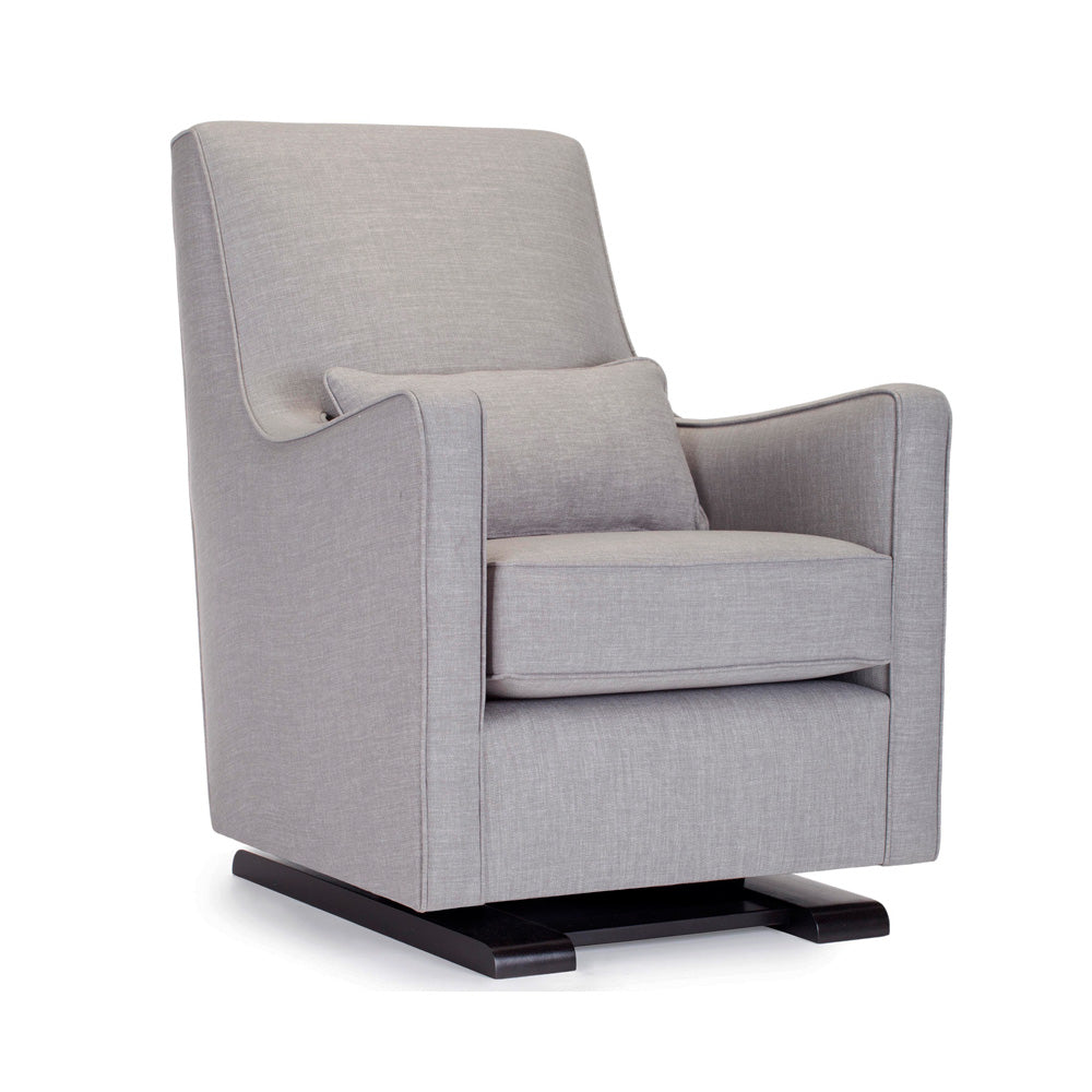 Modern Upholstered Luca Glider - pebble grey fabric shown.