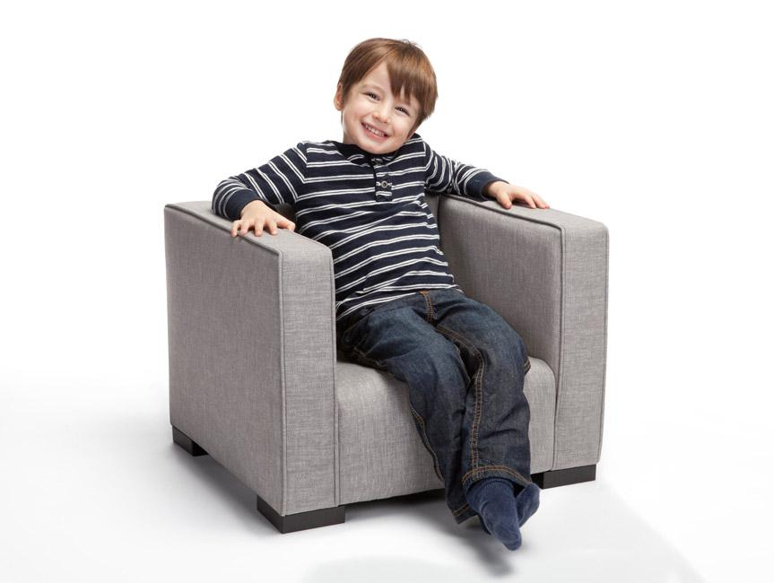 Modern Upholstered Opie Toddlers' Armchair  - Pebble grey body shown.