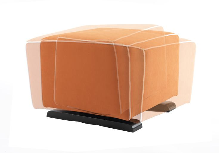 modern upholstered luca ottoman - orange with white piping shown.