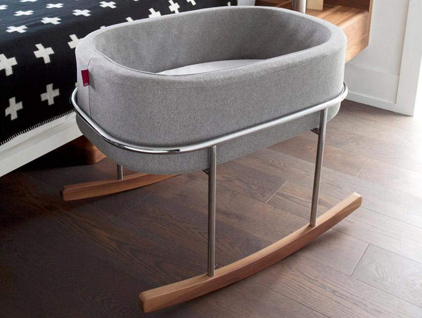 Modern Nursery Rockwell Bassinet - Heather Grey Basket/Chrome/Walnut Base shown.