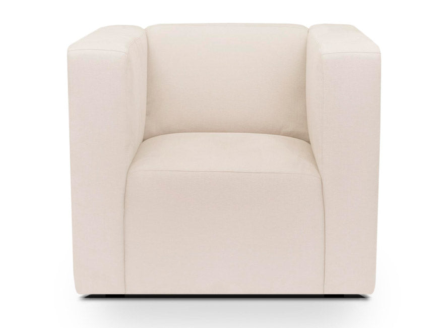 Modern Upholstered Bruce Club Chair - beach shown.