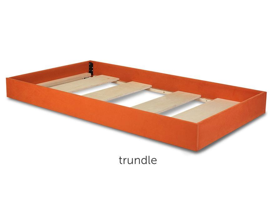 modern dorma twin bed trundle without mattress - orange shown.