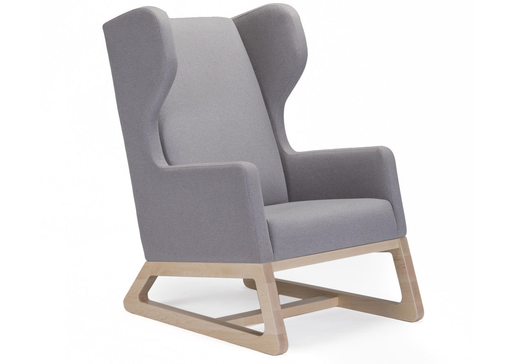 Modern Upholstered Free Bird Lounge Chair - light grey Italian wool with clear maple base shown.
