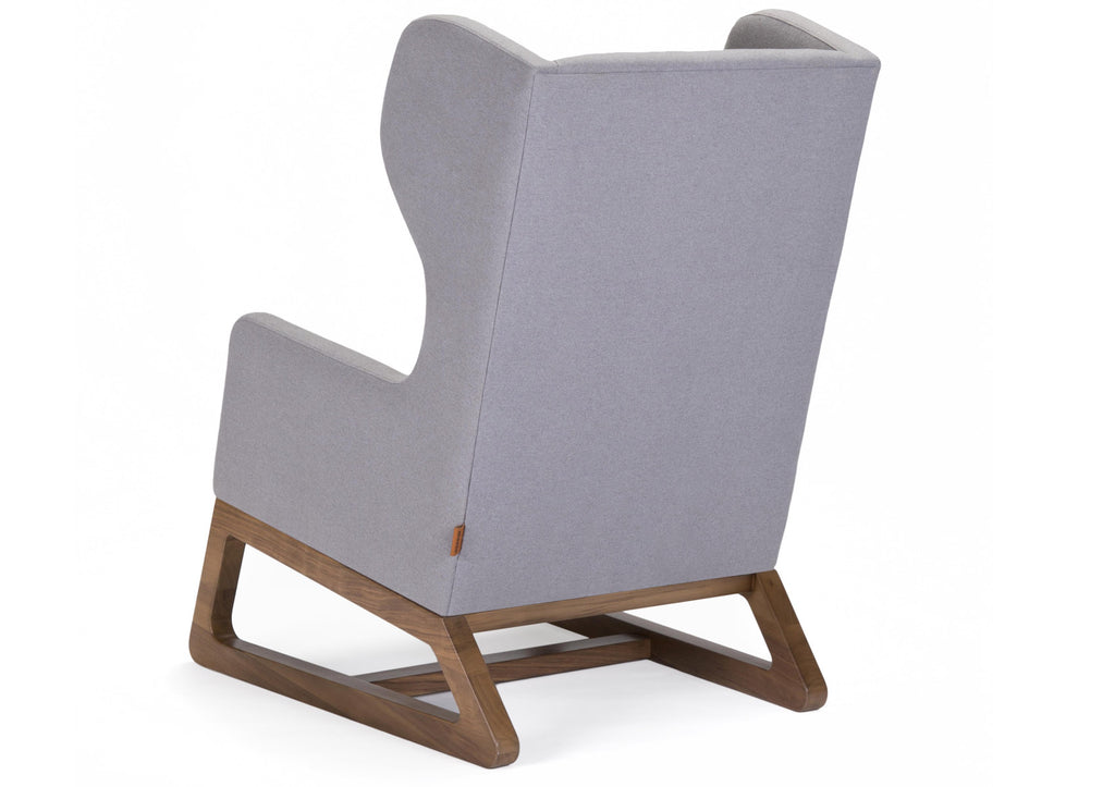 Modern Upholstered Free Bird Lounge Chair - light grey Italian wool with walnut base shown.