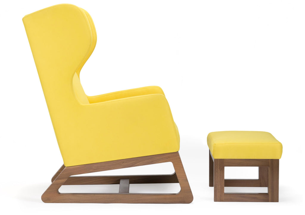 Modern Upholstered Free Bird Lounge Chair and Ottoman - yellow with walnut base shown.
