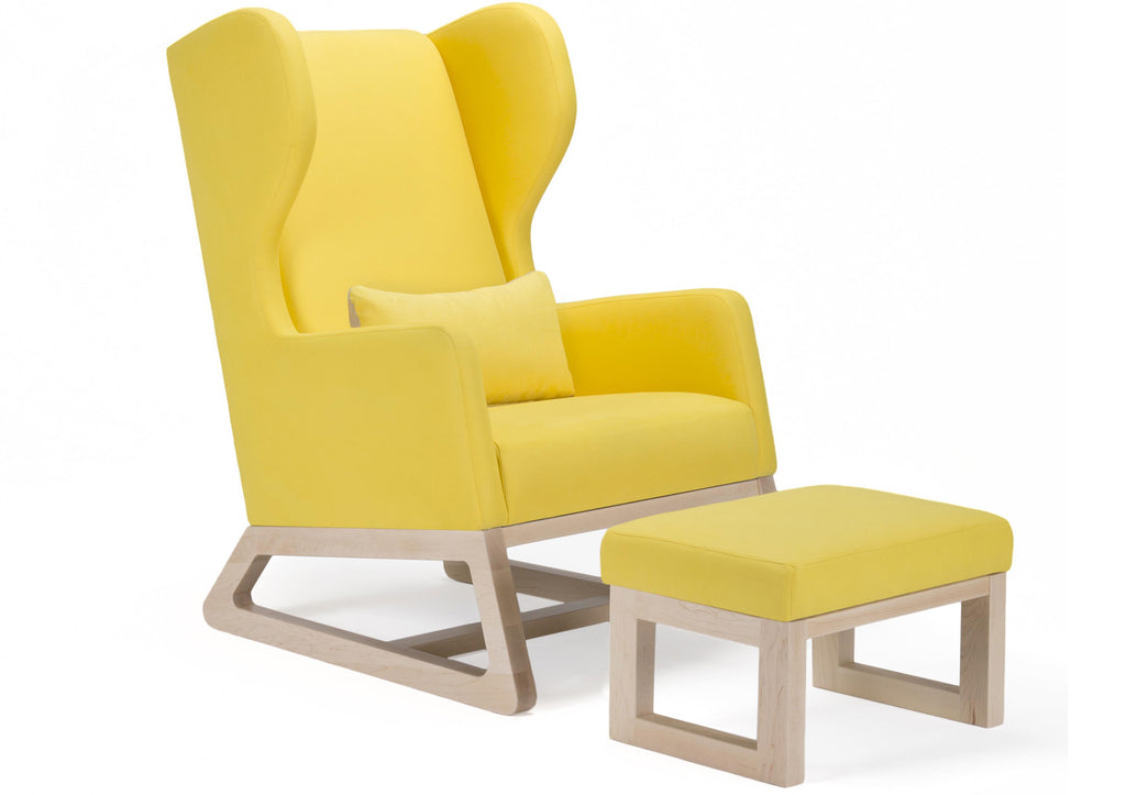 Modern Upholstered Free Bird Lounge Chair and Ottoman - yellow with clear maple base shown.