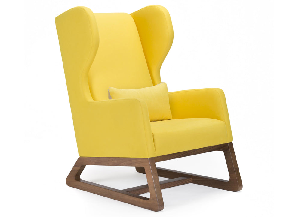 Modern Upholstered Free Bird Lounge Chair - yellow with walnut base shown.