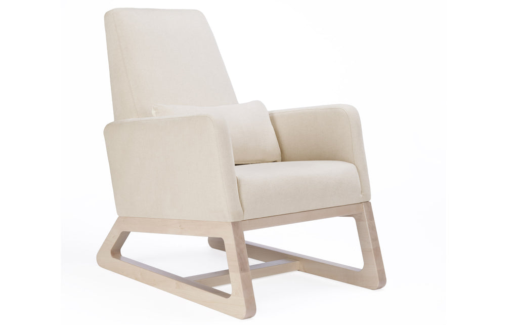 Modern Upholstered Joya Lounge - beach with clear maple base shown.