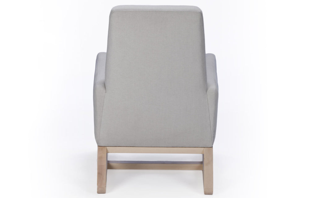 Modern Upholstered Joya Lounge - smoke with clear maple base shown.