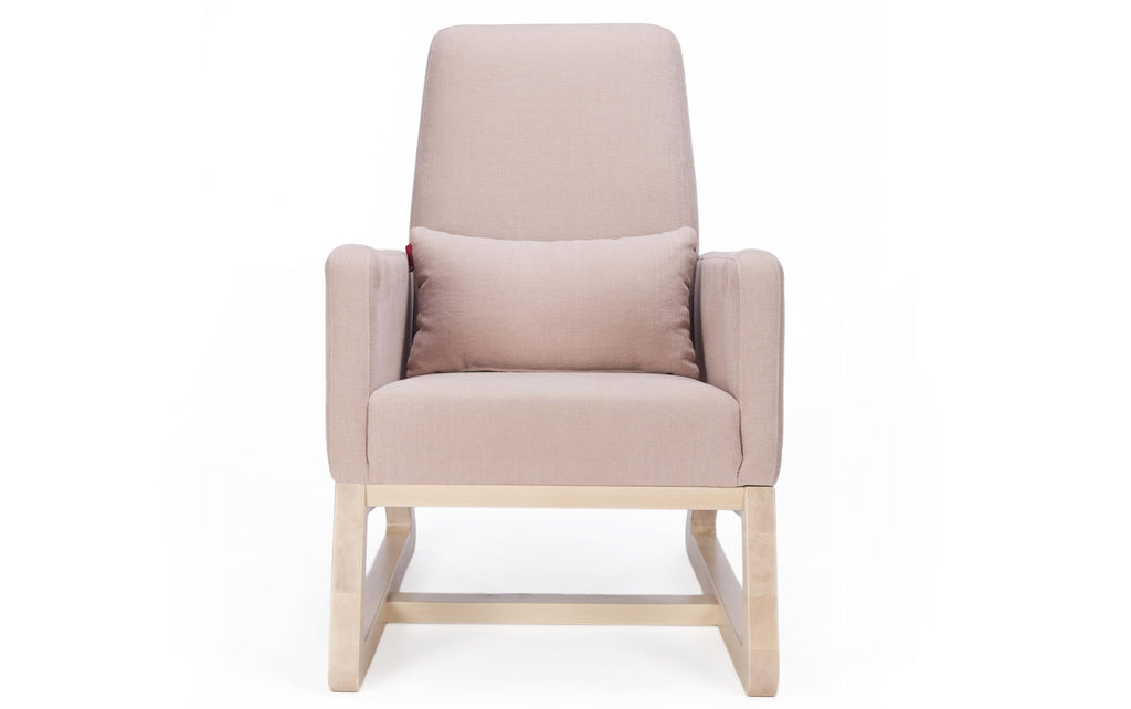 Modern Upholstered Joya Lounge - blush with clear maple base shown.