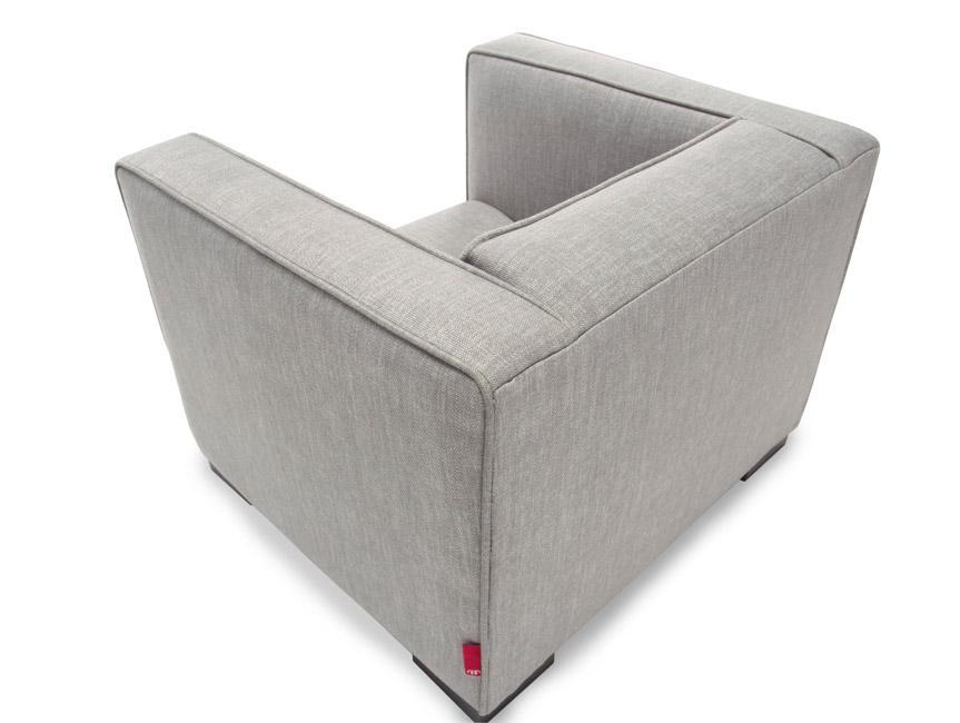 Modern Upholstered Opie Kids Chair - Pebble grey body shown.