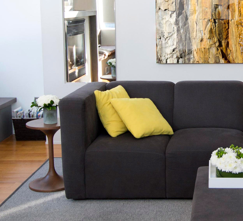 Modern Upholstered Bruce Sectional- carbon shown.
