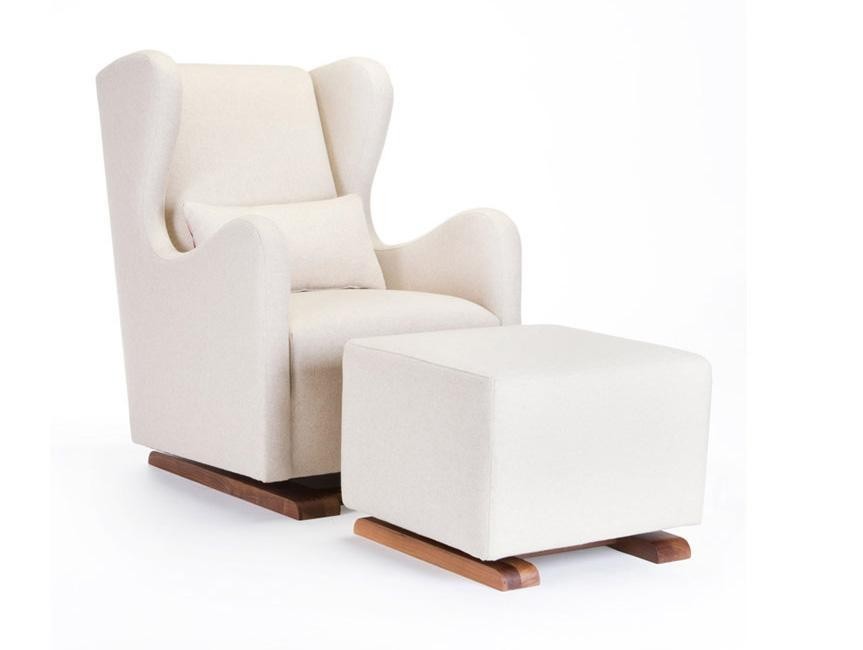 Modern Vola Glider and Ottoman - oatmeal italian wool shown.