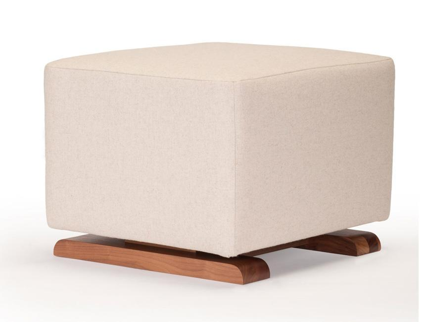 Modern Vola Ottoman - oatmeal italian wool with walnut base shown.