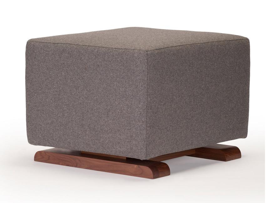 Modern Vola Ottoman - dark grey italian wool with walnut base shown.