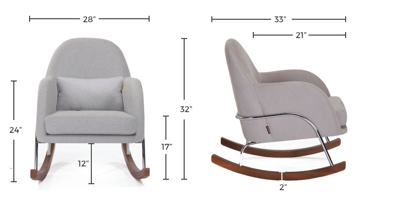 Modern Nursery Rocker - Jackie Nursery Rocking Chair Dimensions