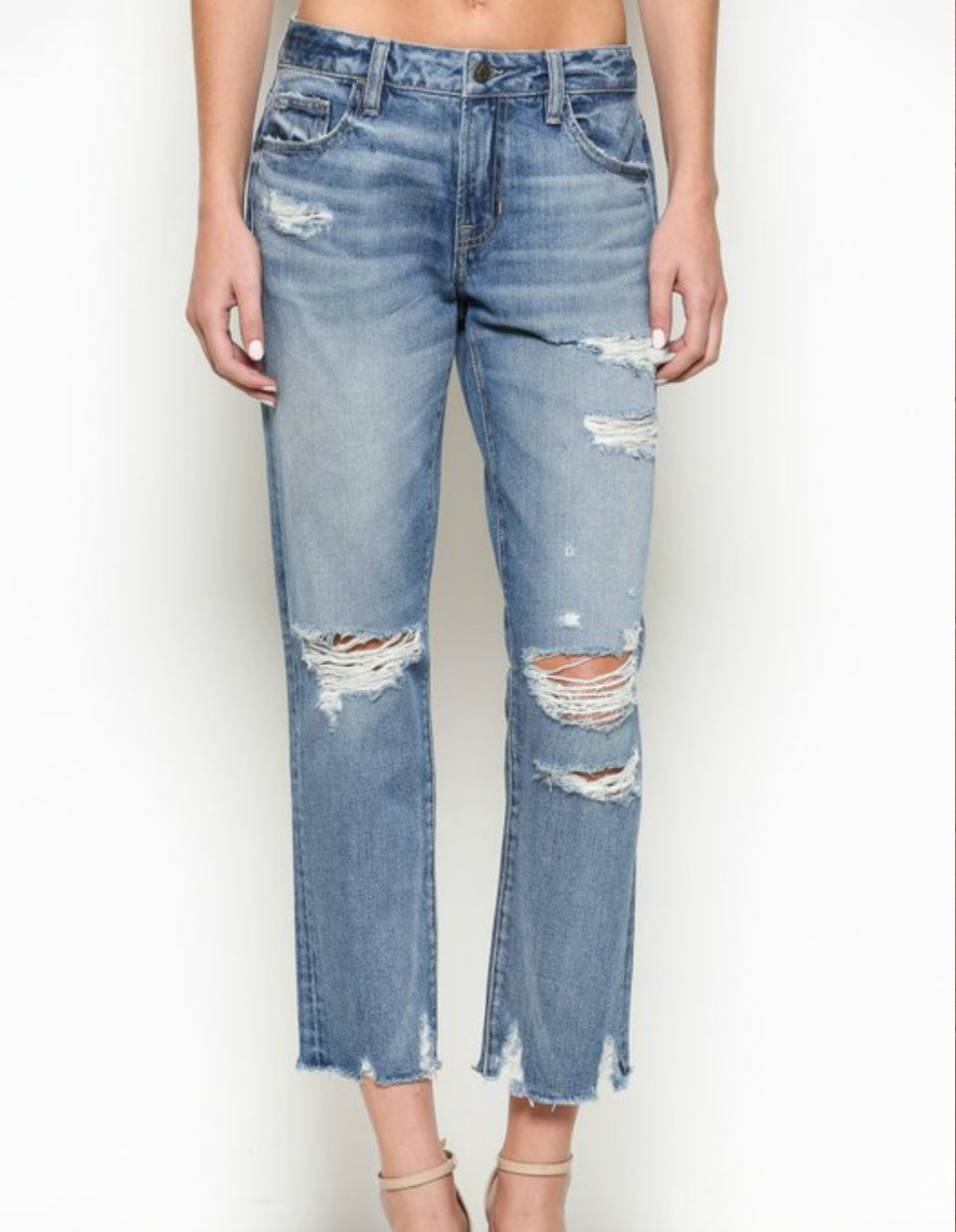 Saylor Distessed Mid Rise Boyfriend - Washed Out