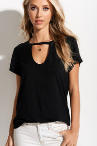 Carly Cut Out Tee - Black
