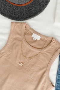 Haven Crew Neck Ribbed Bodysuit - Beige