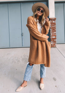 Joplin Pocketed Sweater Trench - Camel