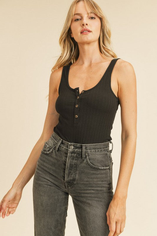 Parker Button Down Bodysuit - Black