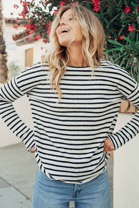 Silver Lake Distressed Striped Top - Black