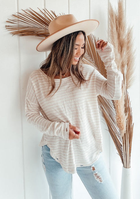 Silver Lake Distressed Striped Top - Tan