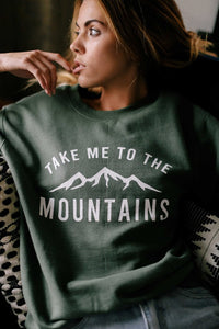 To The Mountains Sweatshirt - Forest Green