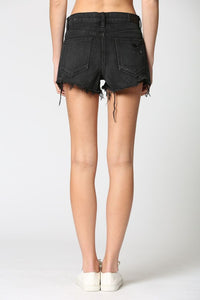Taylor Mid-Rise Cut Offs - Washed Black