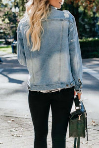 Viceroy Oversized Distressed Denim Jacket