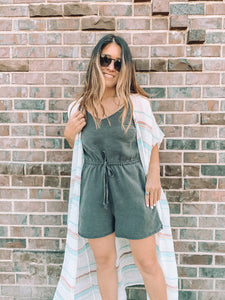 Courtney Pocketed Romper - Charcoal