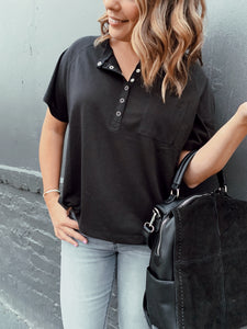 Morgan Snap Button Front Tee - Black