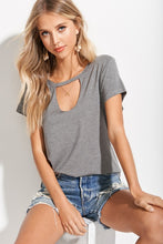 Carly Cut Out Tee - Gray