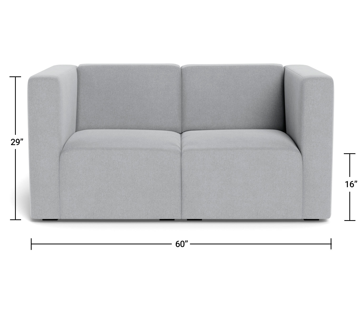The Bruce 2-seater Sofa Couch Dimensions Front View