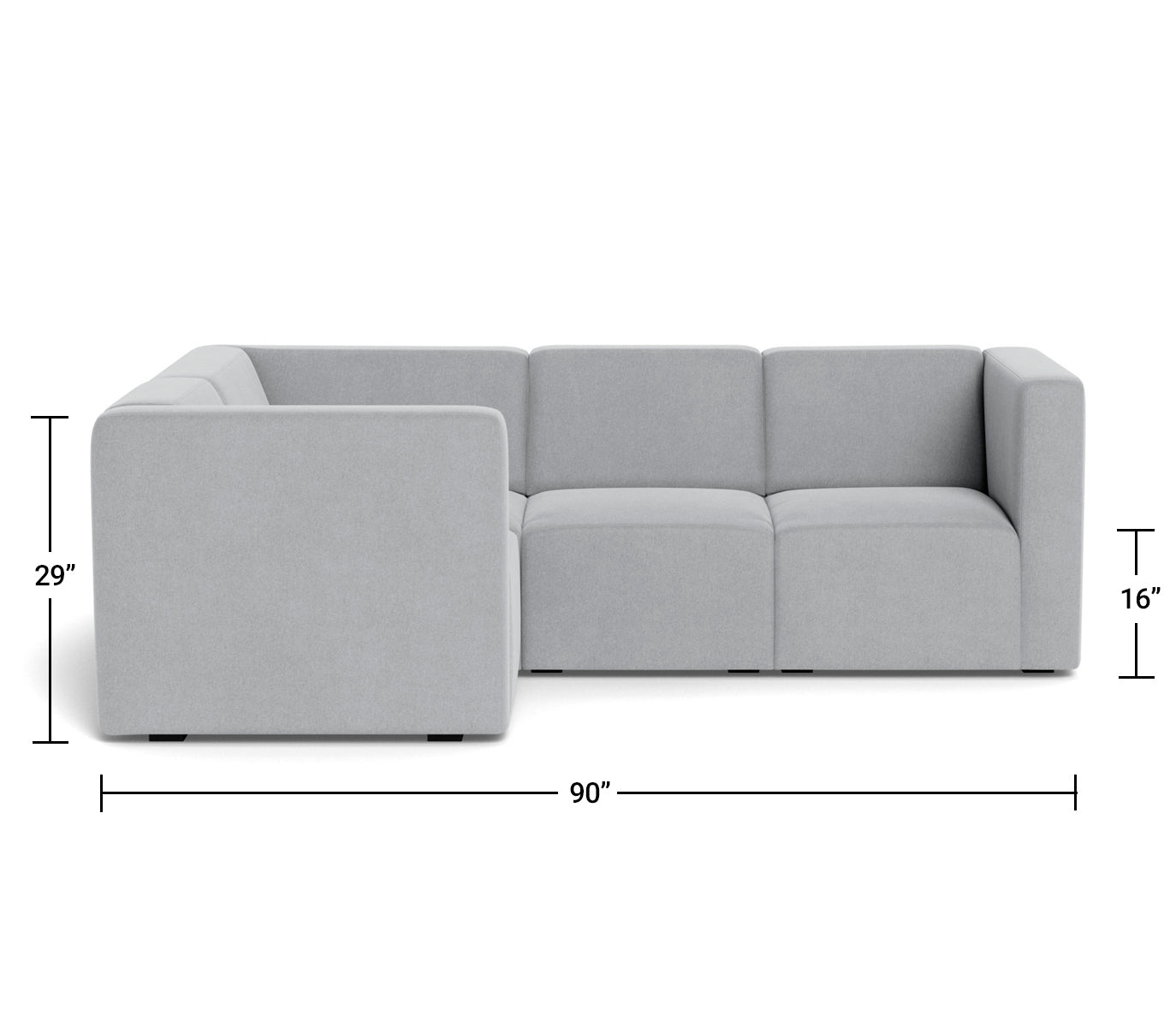 The Bruce Sectional 3-seat + corner Dimensions Front View