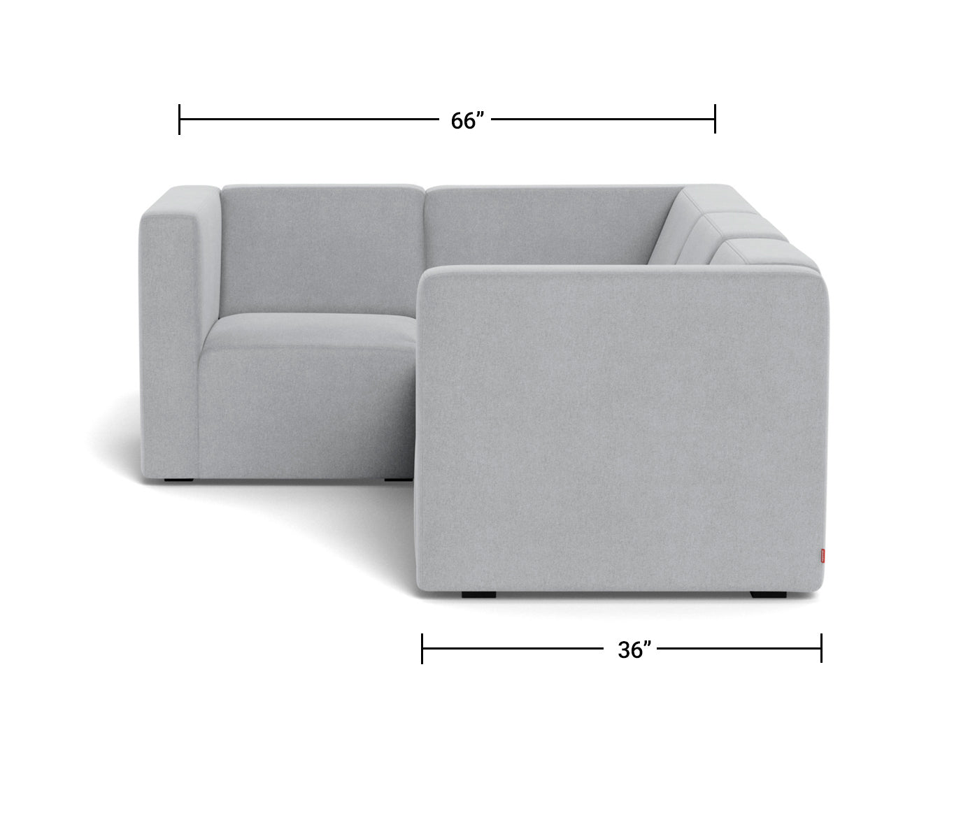 The Bruce Sectional 3-seat + corner Dimensions Side View