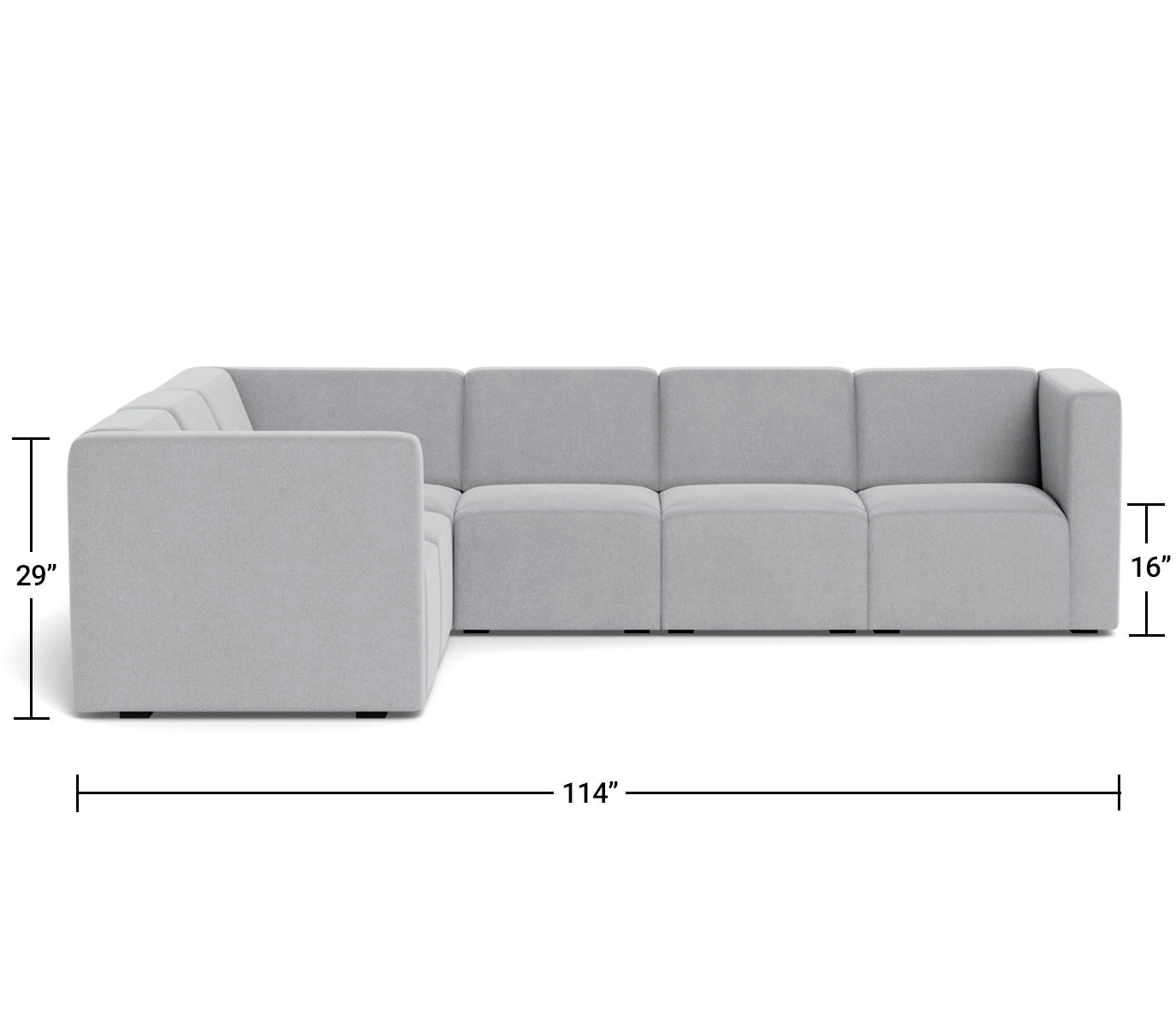 The Bruce Sectional 5-seat + corner Dimensions Front View