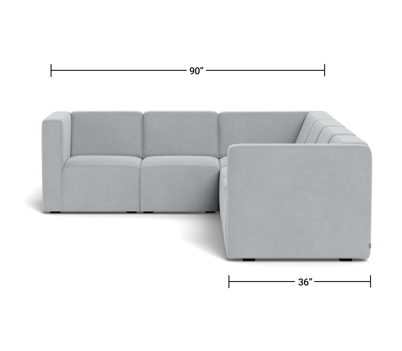 The Bruce Sectional 5-seat + corner Dimensions Side View