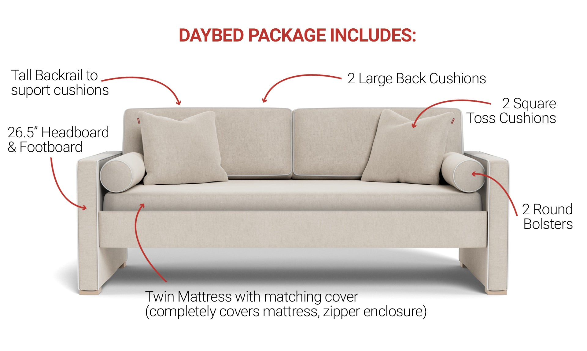 Dorma Twin Daybed Sofa features