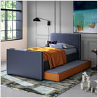 modern upholstered dorma twin bed with trundle - navy blue body