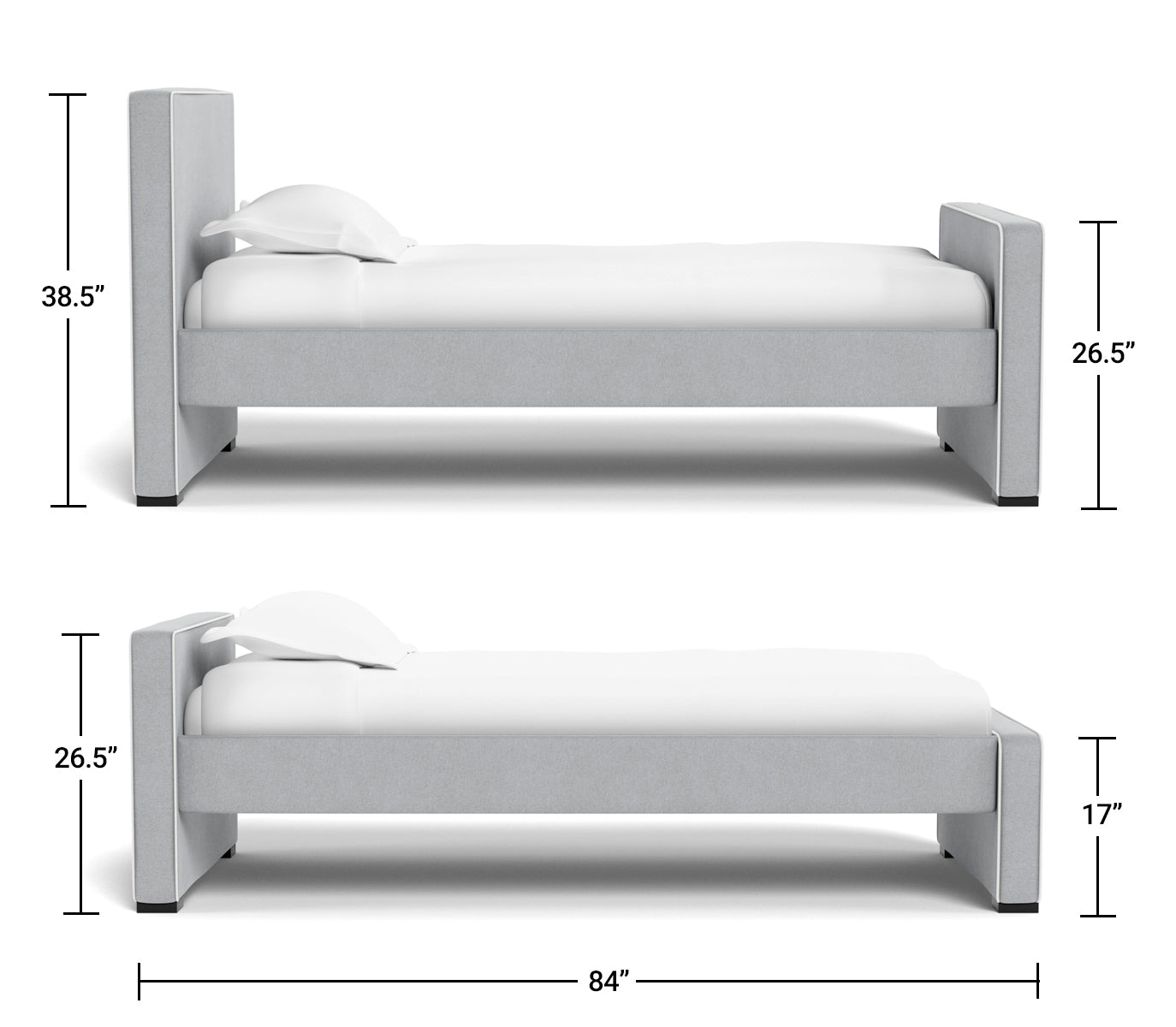 Modern Dorma Bed Twin Dimensions Side View