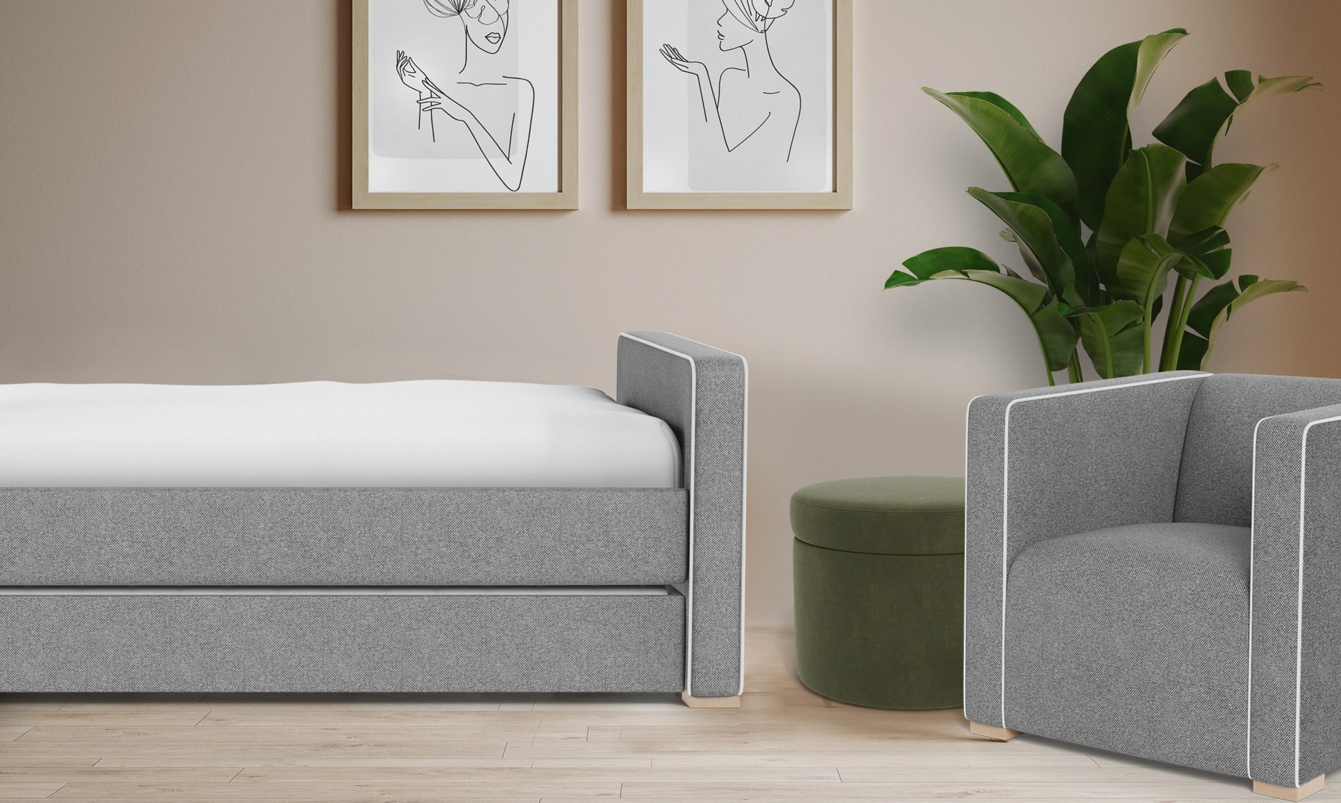 Modern Dorma Bed with Cub Chair