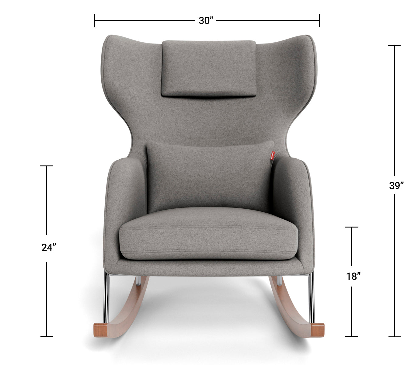 Modern Nursery Rocking Chair - Grand Jackson Rocker Dimensions Front View