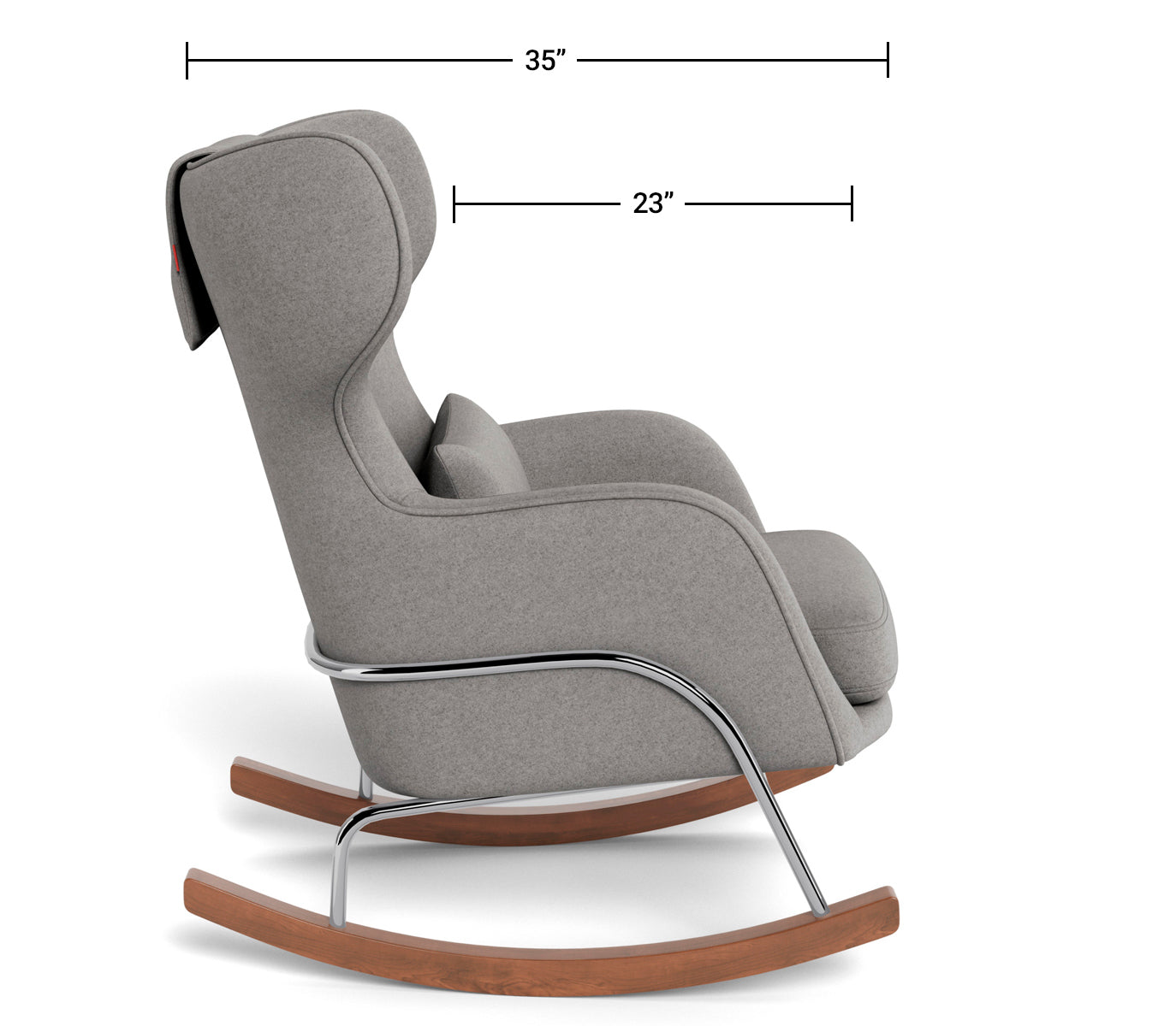 Modern Nursery Rocking Chair - Grand Jackson Rocker Dimensions Side View