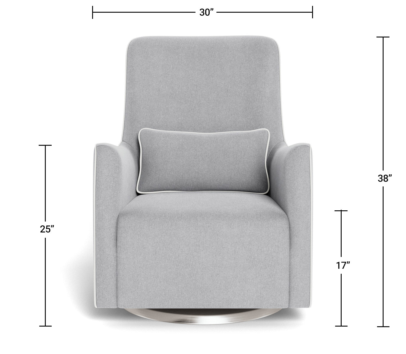 Modern Nursery Glider Chair - Grazia Glider Chair Dimensions Front View