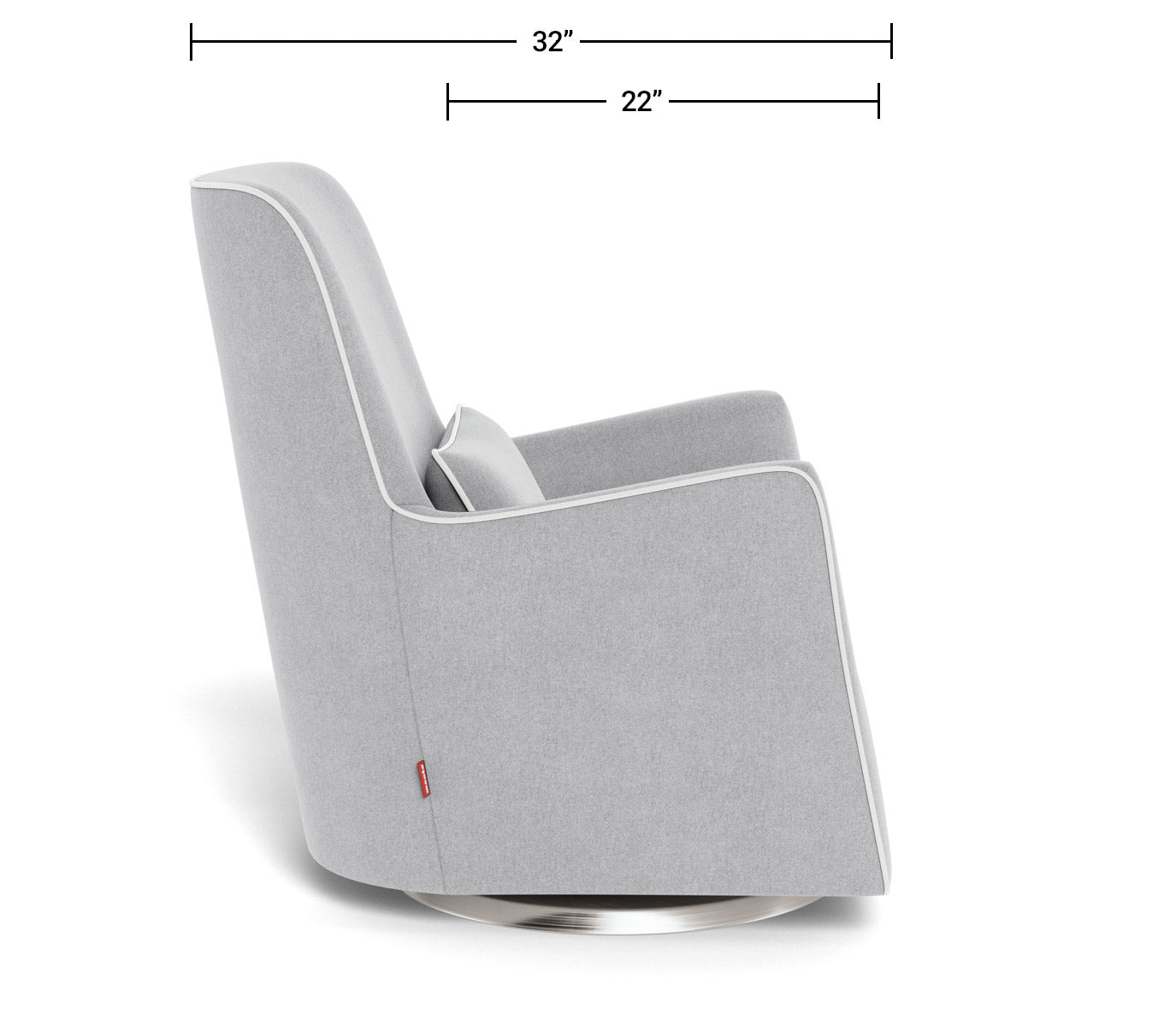 Modern Nursery Glider Chair - Grazia Glider Chair Dimensions Side View